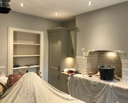 Tiling the chimney breast